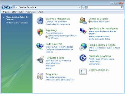 Painel de controle do Windows Vista