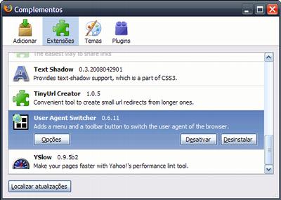 User Agent Switcher no Windows