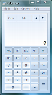 A calculadora do Windows 7